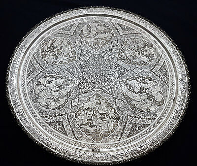 Finest Antique Middle Eastern Persian Islamic Solid Silver Signed Tea Set 1505g