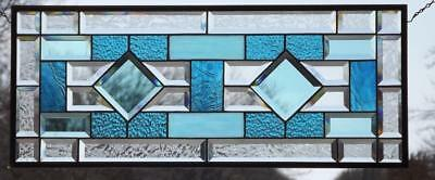 """SPECTRUM""Turquoise Beveled Stained Glass Window Panel •≈30 ¾"" x 12 ¾"" (78x32cm)"