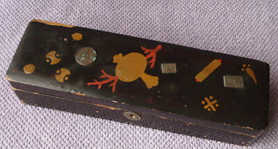 Vintage Japanese Lacquered Makie Chacha Trinket Painted Lacquer Japan Coin Box