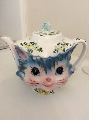 Lefton Miss Priss 4 Cup Teapot 1516  vtg cat kitty