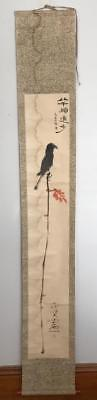 Antique Japanese Hanging Scroll Painting Black Bird