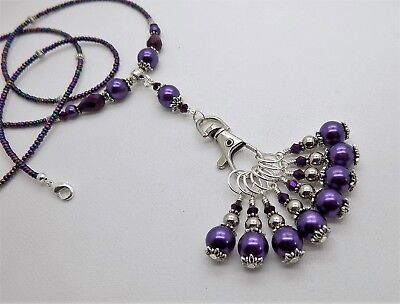 8 x Purple Stitch Marker & Necklace Holder KNITTING CROCHET - upto 7mm Needles