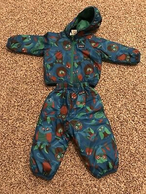 PATAGONIA Baby Reversible Puff-Ball JACKET AND PANTS 18M Blue Owl w/ Green