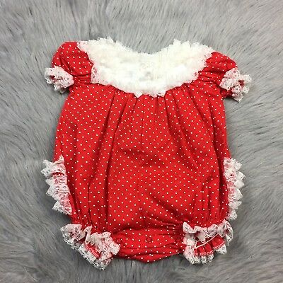 Vintage Baby Girls Red White Lace Polka Dot Ruffle Bubble Romper