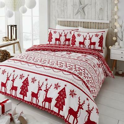 Happy Linen Co Festive Scandi Nordic Christmas Red Double Duvet Cover Set