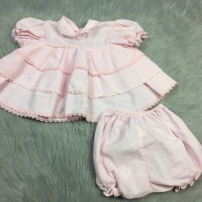 Vintage Baby Girls 2 Piece Pink Lace Ruffle Top Bloomers Set