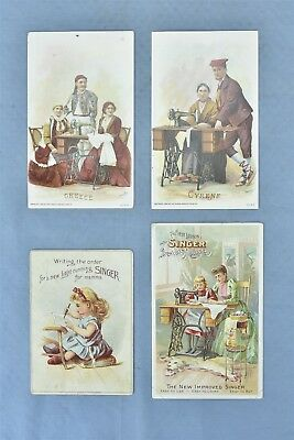 Antique LOT of 4 ADVERTISING VICTORIAN TRADE CARD SINGER SEWING MACHINE #04846