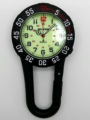 nurse doctor paramedic camping carabineer clip on fob watch F23