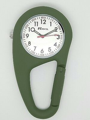 Clip on carabineer type fob watch by Ravel green R1105.11