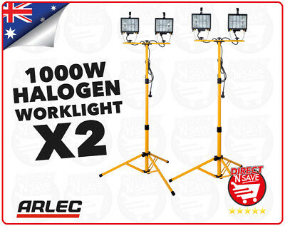 2x ARLEC 1000W Halogen Worklight With Tripod Dual Lamp DIY Indoor/Outdoor HL21