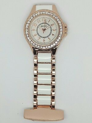 Henley ladies fashion white rose gold diamanté crystal fob watch