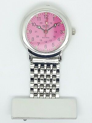 nurse beauticians fob watch pink dial F22