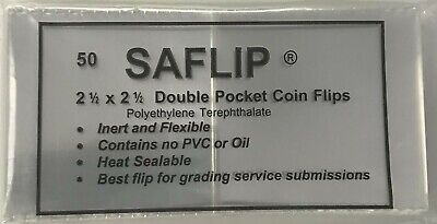 2.5x2.5 Saflips Coin Flips Saflip Double Pocket Clear Archival Holders 50 Pack