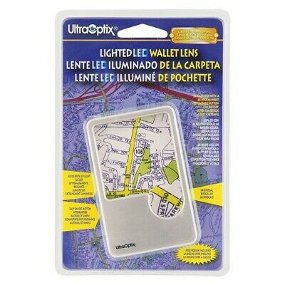 LED Lighted Wallet Magnifier 2x 6x Reading Maps Small Letters UltraOptix New