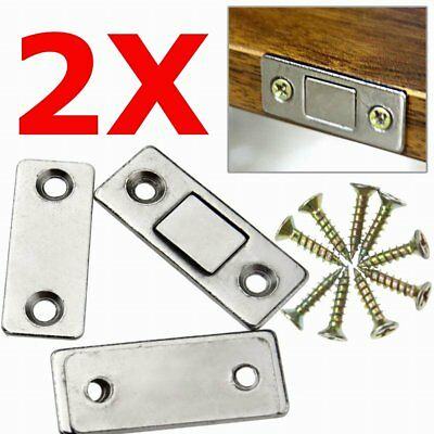 2x Ultra Thin Magnetic Cabinet Hinges Cupboard Glass Door Catch Latch Furniture