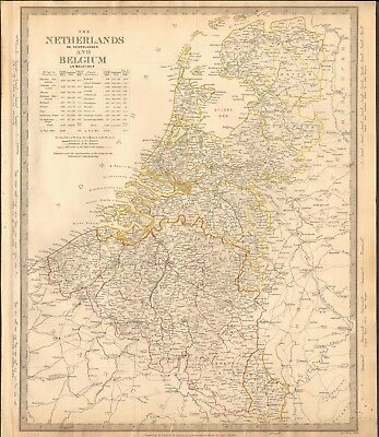 1840 Antique Map- Sduk - The Netherlands And Belgium