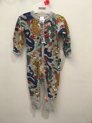 Bonds Baby Zip Wondersuit/babygrow Nwt Jungle Unisex All Sizes