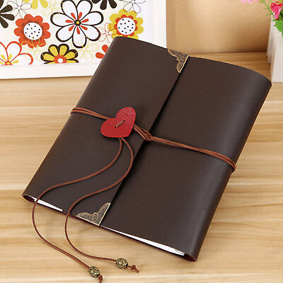 120 Photos Album PU Leather Scrapbook Travel Holiday Gift Portable Travel DIY