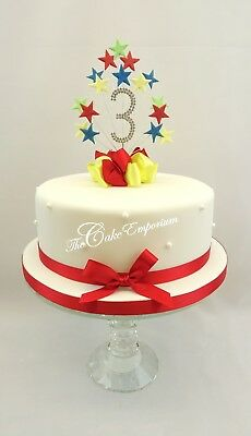 Mr Tumble Star Burst Birthday Cake Topper Diamante Number 1 2 3 4 5 With Ribbon