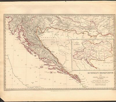 1832 Antique Map- Sduk - Austrian Dominions Iii, Croatia, Sclavonia, Dalmatia