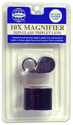 Glass 10X Triplet Lens Magnifier Coin Collecting Loupe Blister w/ Case Whitman