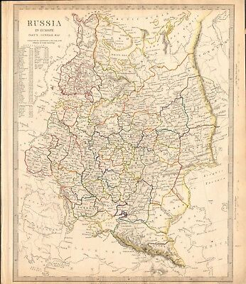 1840 Antique Map- Sduk - Russia In Europe  Part X, General Map