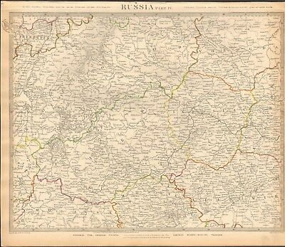 1834 Antique Map- Sduk - Russia In Europe  Part Iv, Moscow, Smolensk, Novgorod