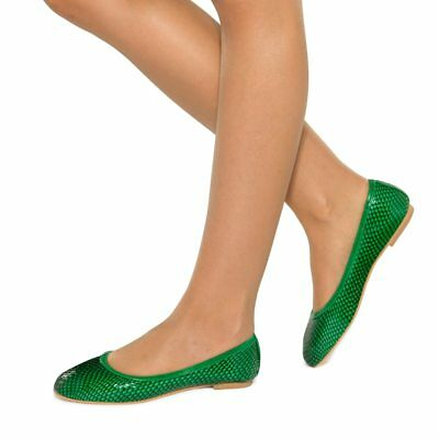 Leather Comfort Padded Emerald Green Casual Flats Sizes 5-12