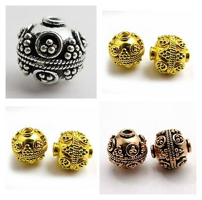 Antiqued Sterling Silver Plated 18K Gold Plated Antique Copper Bali Bead B 2