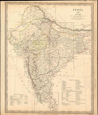 1835 Antique Map- Sduk - India Xii, General Map, British Territories, Protectora