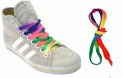 Bright Rainbow Multi Coloured Flat Shoe Boot Laces Fashion Party Trainer 90cm