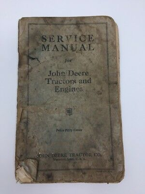 Antique Service Manual for John Deere Tractors and Engines Guide Book