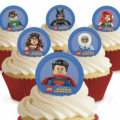 Cakeshop 12 x PRE-CUT Lego DC Superhero's Edible Cake Toppers