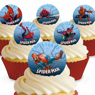 Cakeshop 12 x PRE-CUT Spiderman Comic Edible Cake Toppers