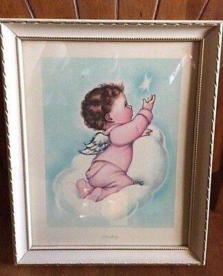 """""""STARLING"""" FRAMED BABY Angel Picture by.... CHARLOTTE BECKER 9"""" x 11"""""""