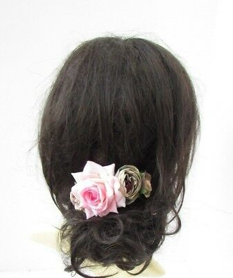 Grey Blush Light Pink Rose Flower Hair Comb Bridesmaid Wedding Fascinator 5342