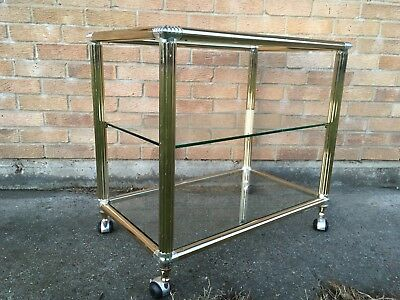 Vintage brass and silver metal drinks trolley bar cart