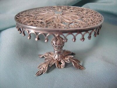 """Vintage Sterling Silver Ornate Filigree Victorian Doll House Oval Table ~1-1/4""""T"""