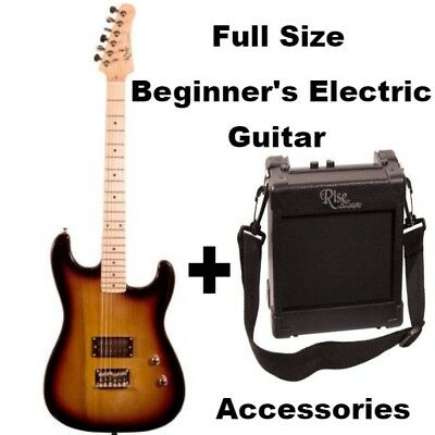 Beginners Electric Guitar Full Size + 5 Watt amp strap picks Gig Bag Pitch Pipe