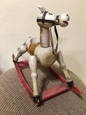 original antique vintage primitive handmade folk art rocking horse collectible