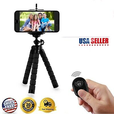 Cell Phone Mini Holder Portable Adjustable Tripod Stand & Remote Control