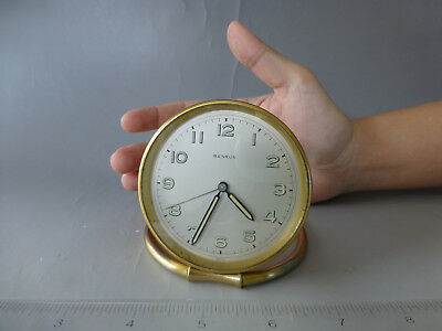 "Vintage Swiss Made ""Benrus"" Mechanical Windup Alarm Desk Watch/Clock (See Video)"