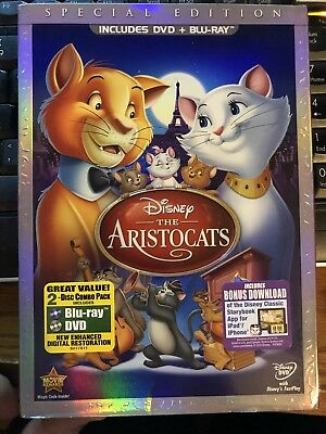 The Aristocats (Blu-ray/DVD, 2012, 2-Disc Set, Special Edition) Free Shipping