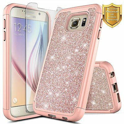 For Samsung Galaxy S6 Glitter Bling Slim Hybrid Case Cover + Screen Protector
