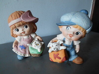 Collectible Set/2 Homco 1439 Porcelain Boy & Girl-Kitten and Dog Figurines EUC