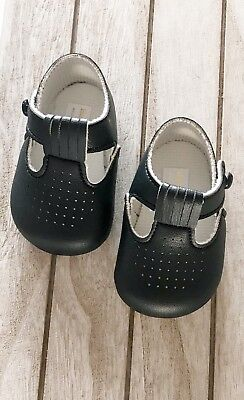 Baby Boys Soft Pram Shoes *BayPods* - Matte White, Navy or Soft Blue  Hole Punch