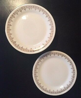 Lot 11 Edwin Knowles Vitreous China Dinner Plates Pattern 983E-1  Gold Trim