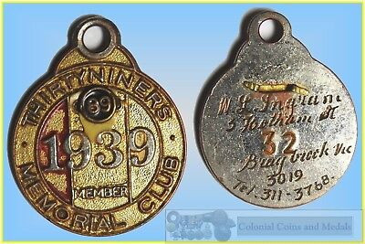 1939 Thirtyniners Memorial Club Badge with Clasp for '89'
