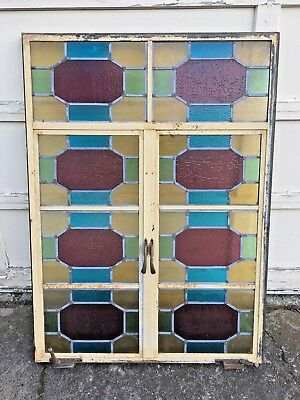 Large Vintage VTG Stained Glass Window Church Metal Frame Opens Salvage Leaded
