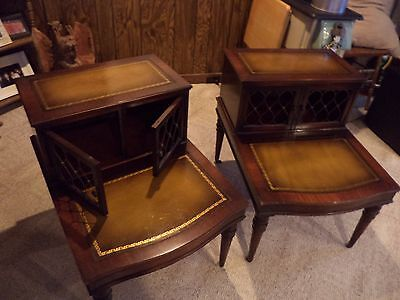 Vintage Pair Of Mahogany Step End Tables With Leather Insert Tops